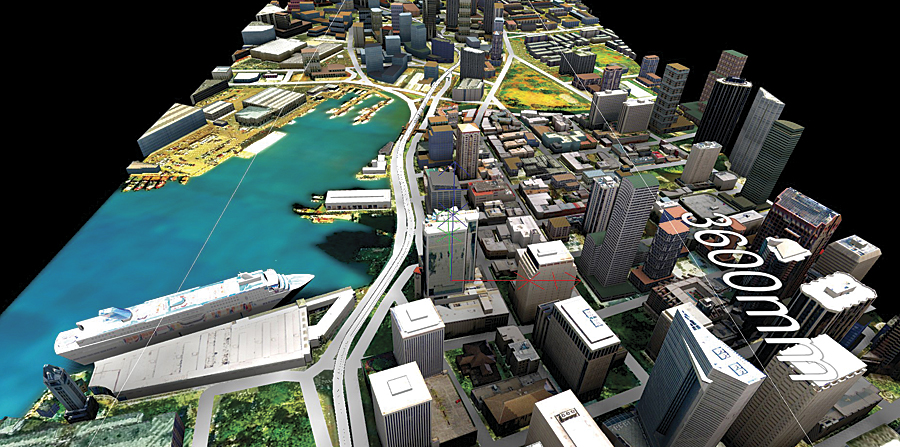 The City of Honolulu, shown here in CityEngine, shows the elevation levels of the downtown corridor, as well as the proposed transit-oriented development, giving citizens and planners a dynamic view of potential changes to the city.