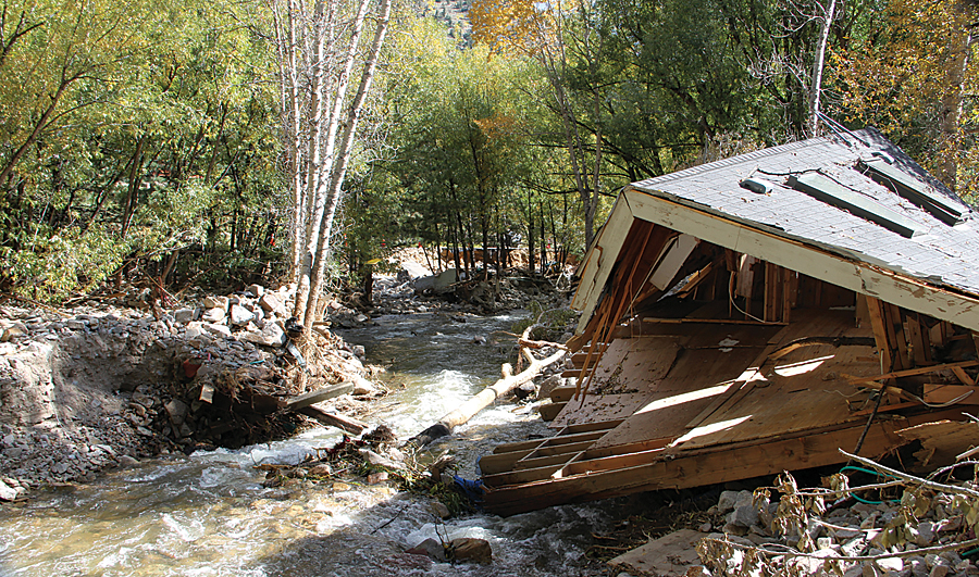 The flooding in September 2013 damaged or destroyed countless buildings, roadways, bridges, and critical infrastructure, causing hundreds of millions of dollars in damages. Photograph courtesy of Micki Trost, Colorado DHSEM PIO.