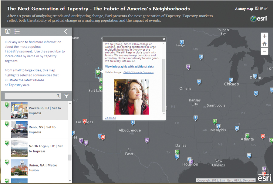 See how Tapestry identifies the dominant segment in 55 US cities in this interactive map.