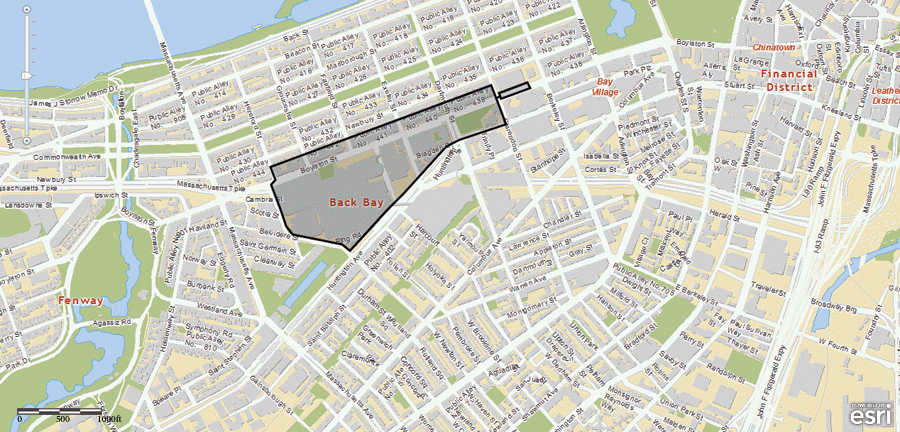 This map was used to show the public the Boston Marathon bombing crime scene perimeter.
