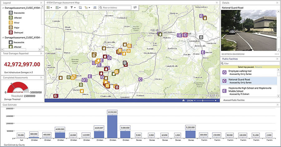 Operations Dashboard for ArcGIS, used in conjunction with Collector for ArcGIS, is a vital tool for monitoring damage assessment in an emergency.