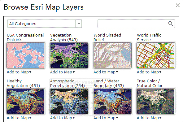 Browse dozens of Esri Map Layers, including demographics and land cover, and add them to your map.