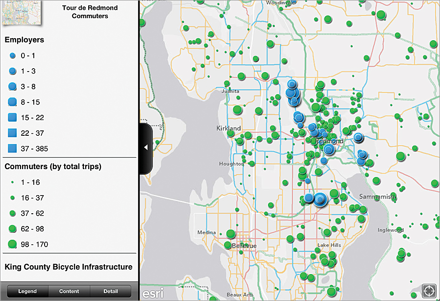 A RideAmigos map shows the King County Bicycle Infrastructure, the location of employers, and the total trips of commuters in Redmond, Washington.