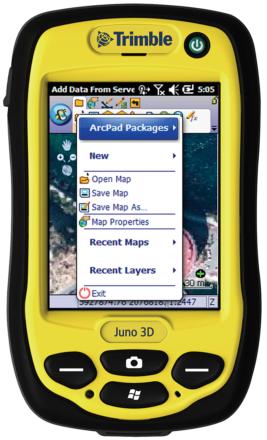 Store ArcPad projects and QuickProject templates in ArcGIS Online for sharing with others (device shown: Trimble Juno 3D).