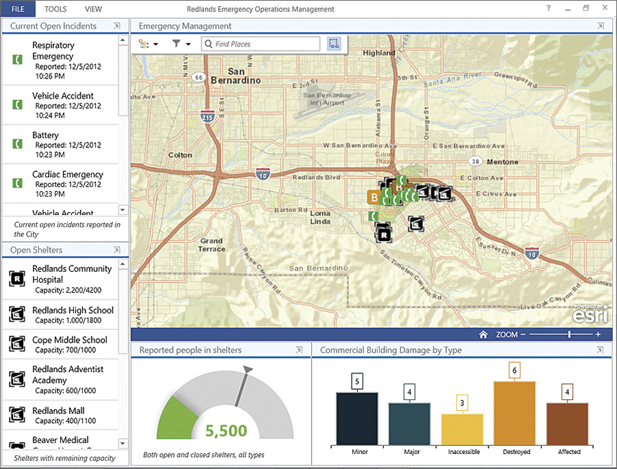 The new Windows-based Operations Dashboard for ArcGIS application leverages responsive maps and dynamic data to create operational views that include charts, lists, gauges, and indicators, which update automatically as underlying information changes.
