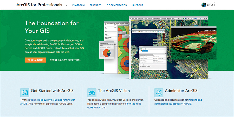 The ArcGIS for Professionals website helps Esri's customers get the most out of ArcGIS and maximizes their effectiveness and success in a wide array of GIS applications.