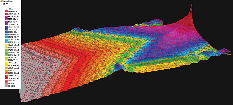 This image shows 3D noise impact contours with a TIN model overlay for a six-mile-long-by-four-mile-wide portion of the study area.