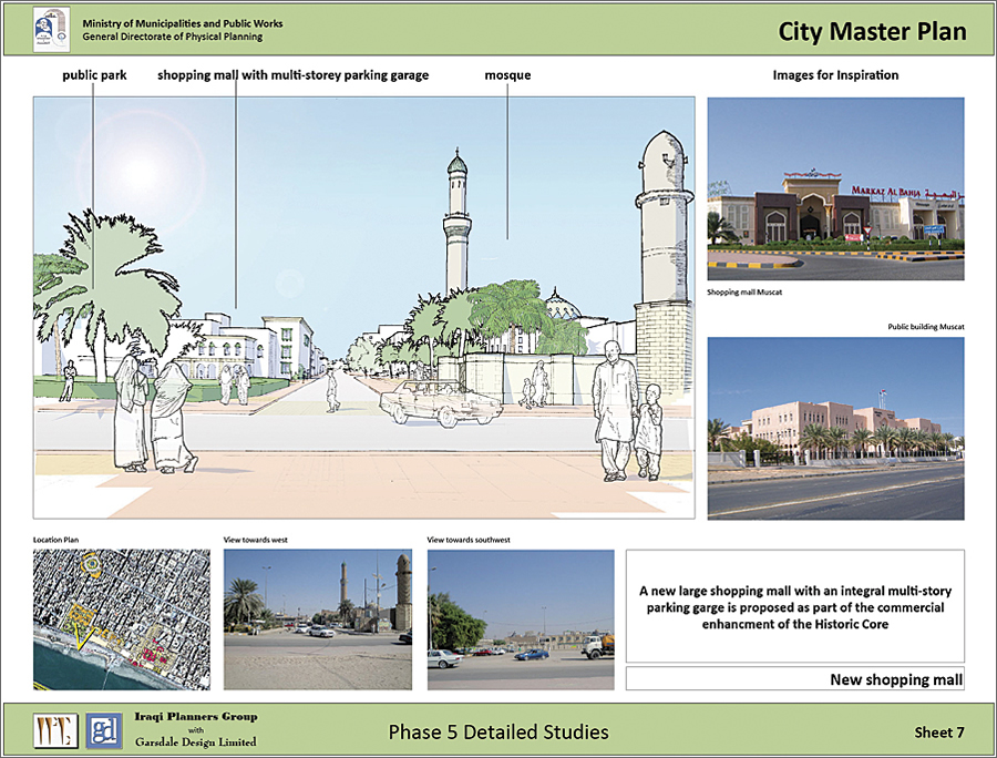 This Nasiriyah display sheet for detailed study presents a proposal for a large shopping mall.