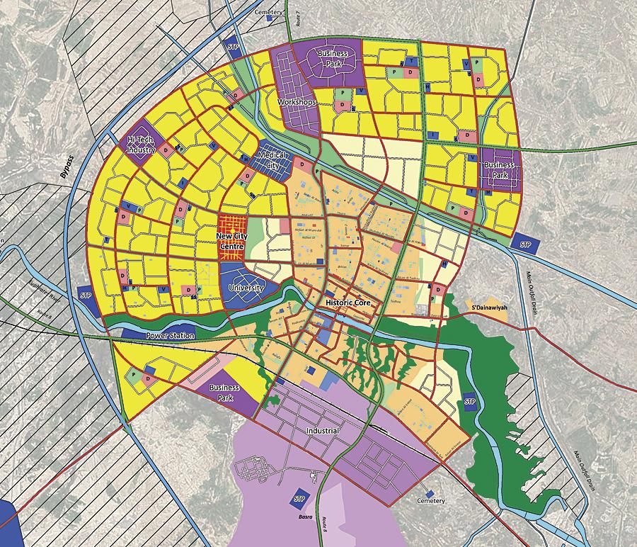 This is a typical Nasiriyah City Master Plan sheet.