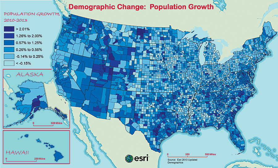Population growth may be influenced by job opportunities and workers' ability to move to take a job. This map of the US by county clearly illustrates areas of population growth and decline.