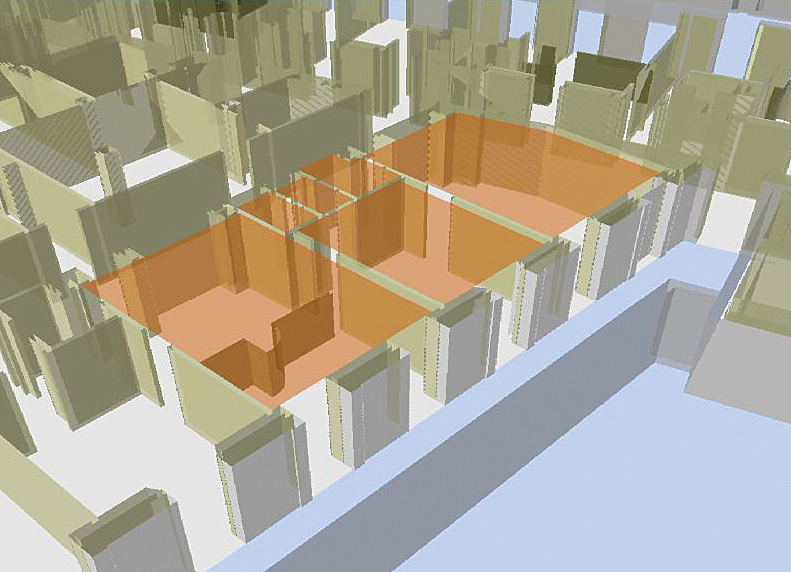 The user can view a room in 3D using actual partition heights that are stored in ArcGIS to get a much more realistic view of the suite.