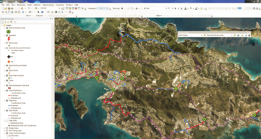 Designing the Virgin Islands Next Generation Network (viNGN) fiber network using ArcGIS for Desktop.