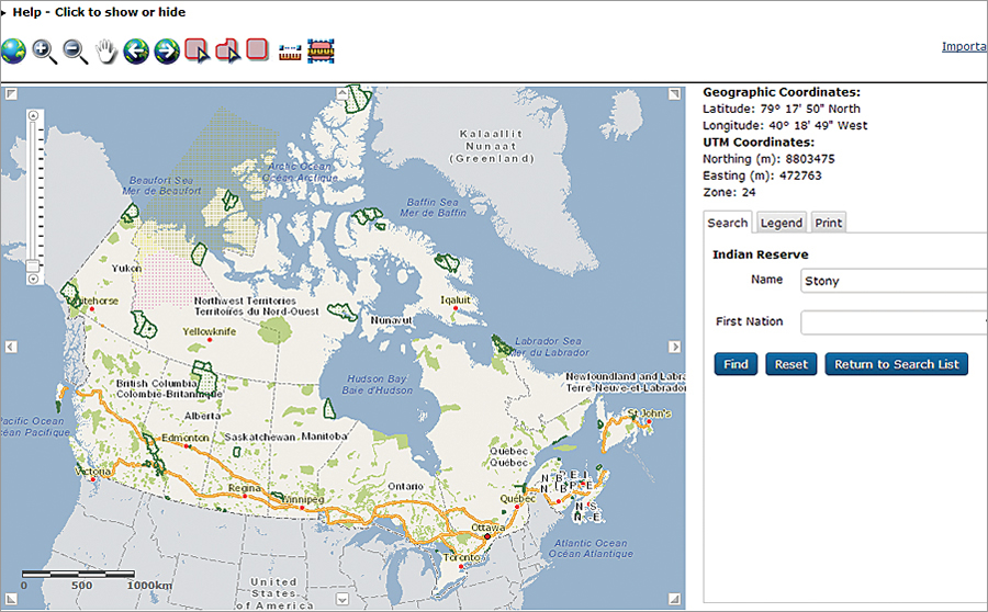 All elements of the Canada Lands Survey System (CLSS) Map Browser are accessible to blind or partially sighted people, including all buttons, tabbed menus, entry and drop-down boxes, and Esri's map itself.