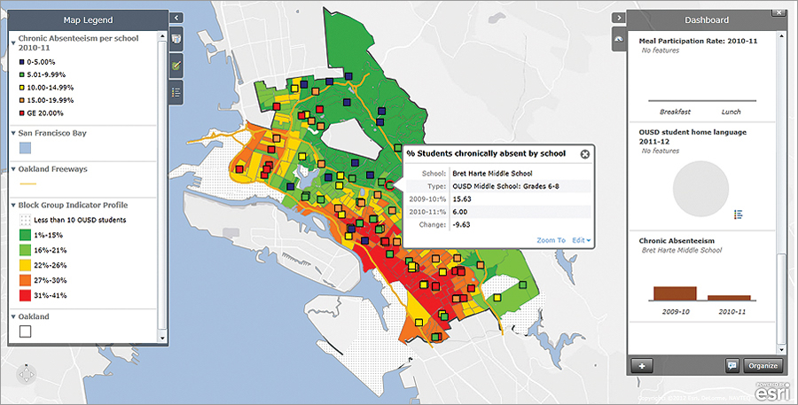Oakland Unified School District Opportunity map comparing chronic absenteeism per school for the 2010–11 school year.