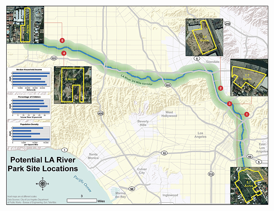 Example of a completed proposed park site selection map for Los Angeles, California.