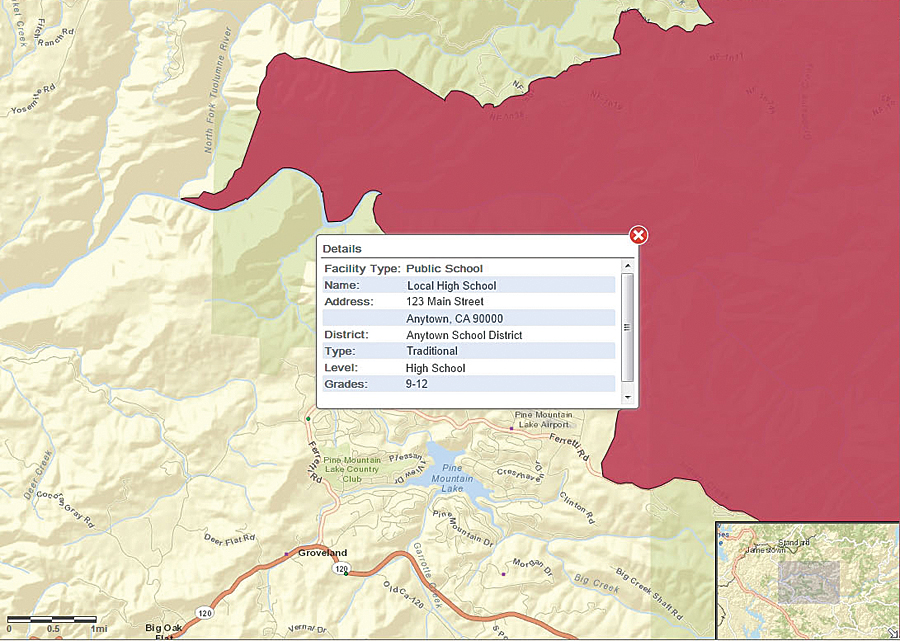 Rim Fire, 2013. Clicking on a marker opens a panel containing details for that location, including contact information, number of clients, age ranges, and other important elements.
