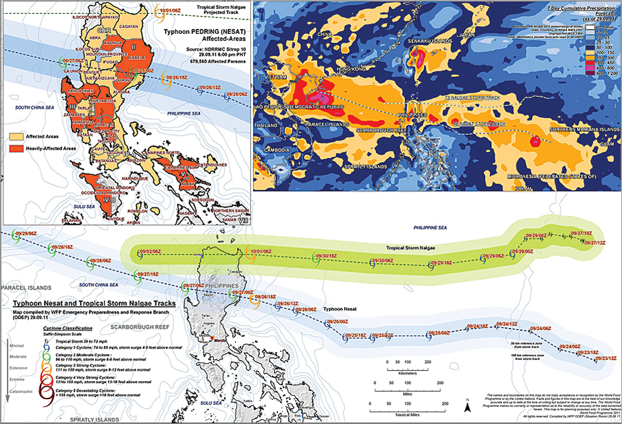 Typhoon and tropical storm tracking in the Philippines: The World Food Programme (WFP) uses ArcGIS to understand vulnerabilities among populations living in areas prone to natural disasters. Here the evolution of Hurricane Nesat and Tropical Storm Nalgae are shown in relation to affected areas along their tracks.