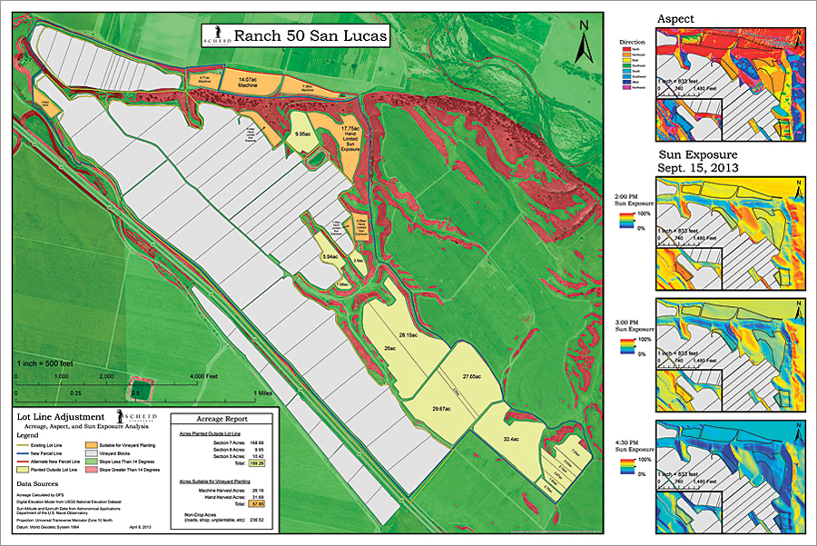 Land suitable for planting a vineyard to be machine harvested needs a slope of less than 14 degrees for the harvester, good sun exposure in September to ripen the fruit, and to be southern facing. This map shows all three factors and identifies the best places to plant. The map was made using a digital elevation model and ArcGIS for Desktop.