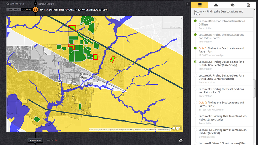 Case studies help students learn spatial analysis in ArcGIS Online.