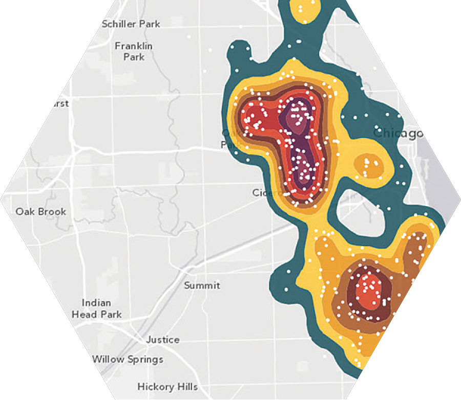 The Calculate Density analysis tool estimates a density surface from point or line features.