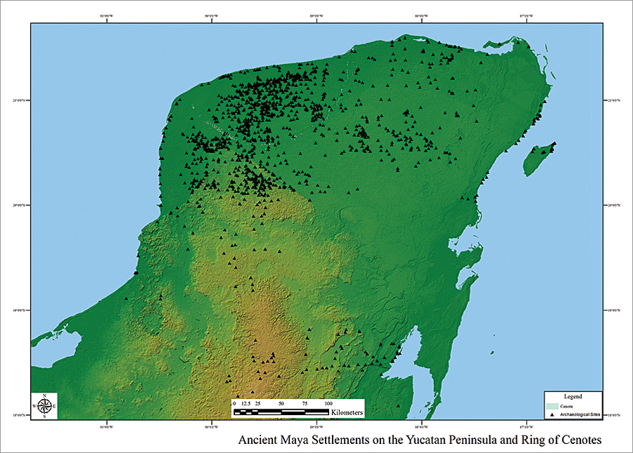 Maya sites in the study with cenotes marking the buried rim of the Chicxulub impact crater plotted over SRTM elevation data in ArcGIS.