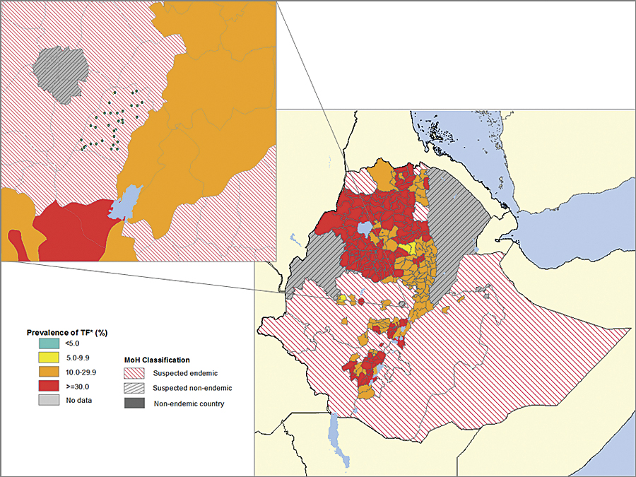 "The point features generated by the Esri Python script can be aggregated to the health district—turning the health district classification from ""suspected endemic"" to a prevalence value. This knowledge drives health interventions."