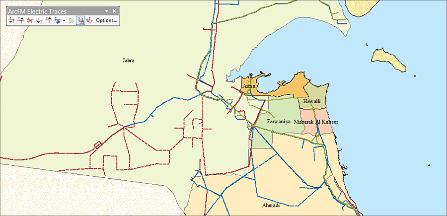 One of the maps for the electric transmission network sector showing the overhead line and the primaries substation on Kuwait state.