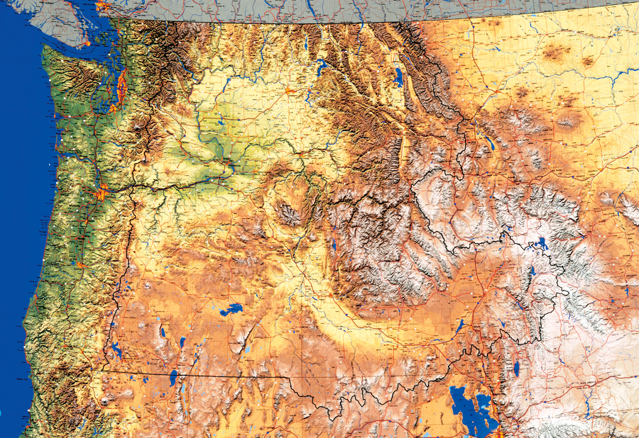 One of the many beautiful maps Nighbert has worked on. This map the Interior Columbia Basin Project won the Best Cartographic Presentation Award at the 1995 ESRI User Conference and appeared on the cover of the 11th volume of the ESRI Map Book in 1996.