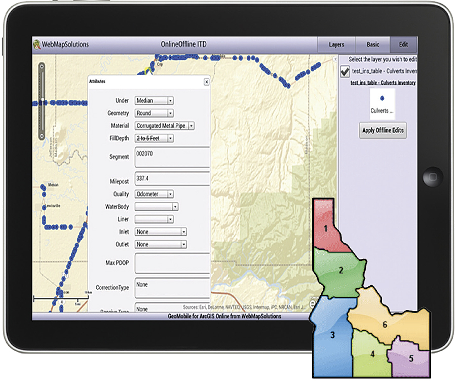 Development version of the mobile editing app. Inset: Idaho Transportation Department districts.