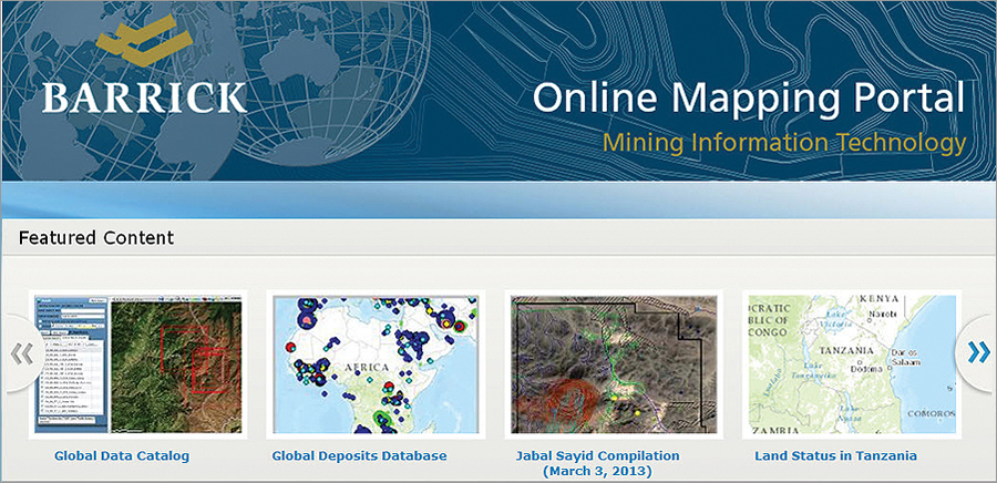 The home page was developed using ArcGIS Online, showcasing Barrick's unique look and feel. Featured maps and apps have also been added to the home page.