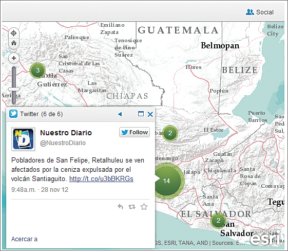 "Interactive mapping of the eruption of the volcano Santiaguito using social networks is shown. The Tweet says in Spanish, ""People from San Felipe, Retalhuleu affected by ashes expelled by Santiaguito Volcano."""