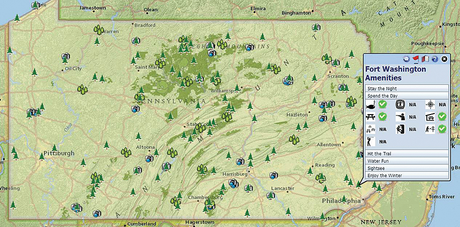 The Pennsylvania Department of Conservation and Natural Resources used GIS to build an interactive map revealing all state parks and the features that each has to offer. The map has seen a steady climb in users as officials regularly update it with added features and information.