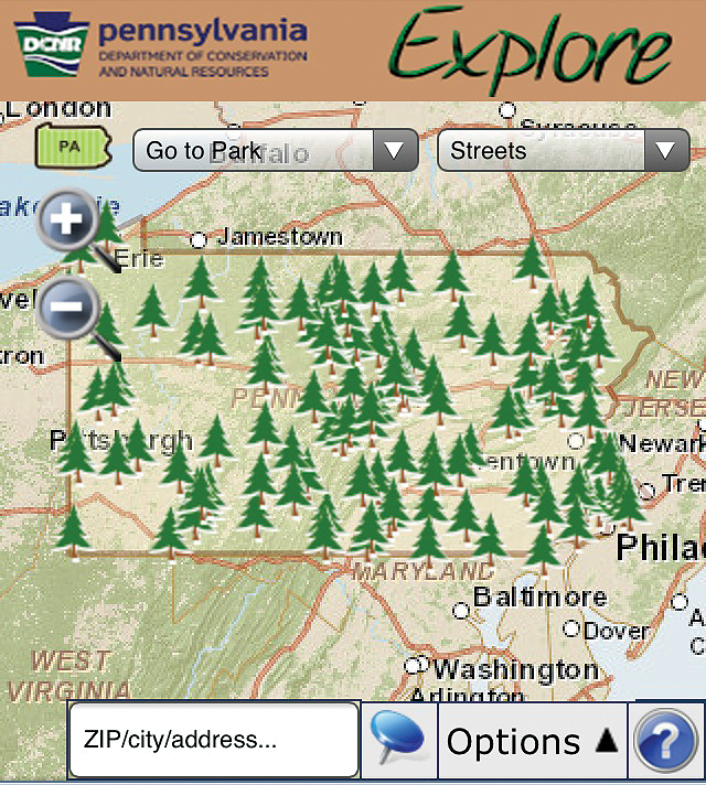 The interactive state parks map proved so successful that the DCNR quickly released an app tailored for mobile users, offering similar functionality plus driving directions.