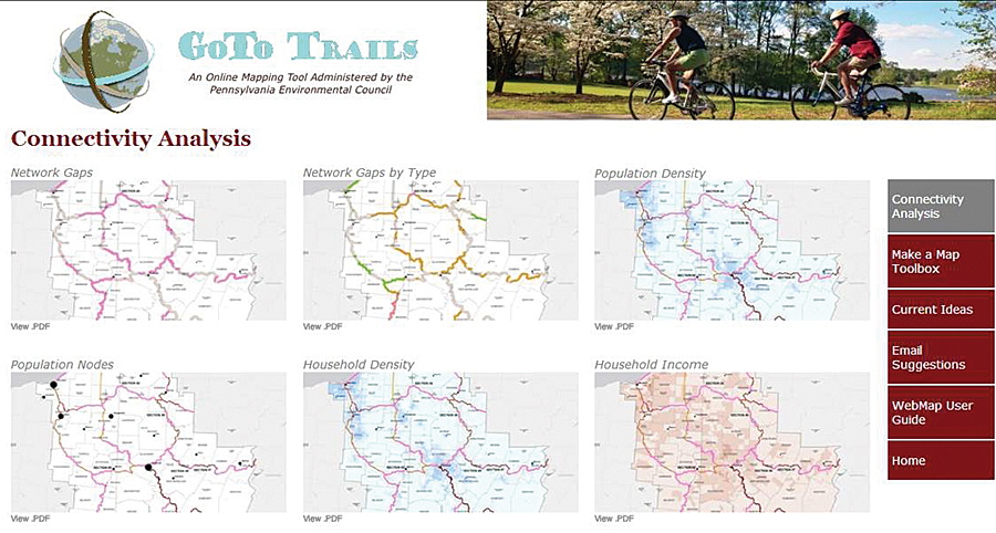 The gototrails.com website provides analysis of the trail gaps provided in maps showing where trails are physically disconnected.