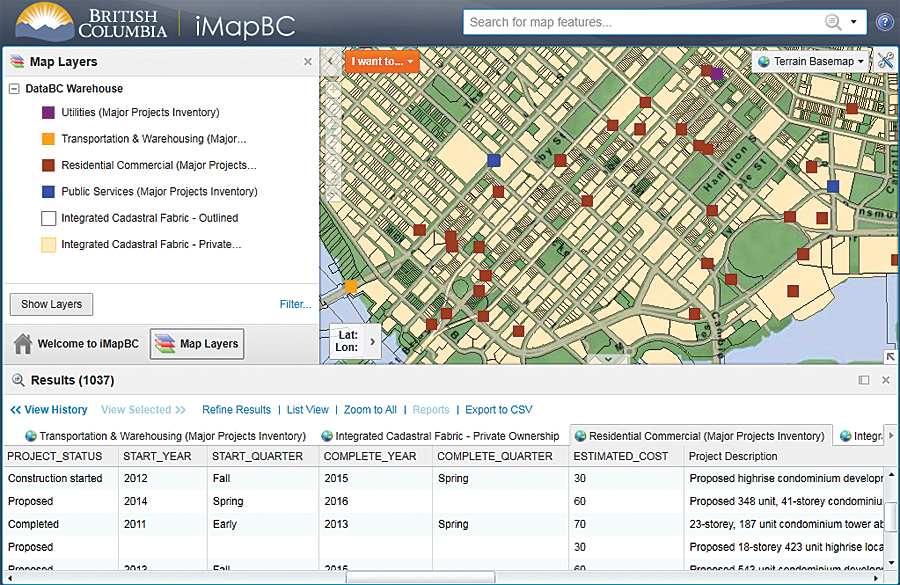 Thousands of data layers from the BC Geographic Warehouse are viewable in dozens of specific mapping applications.