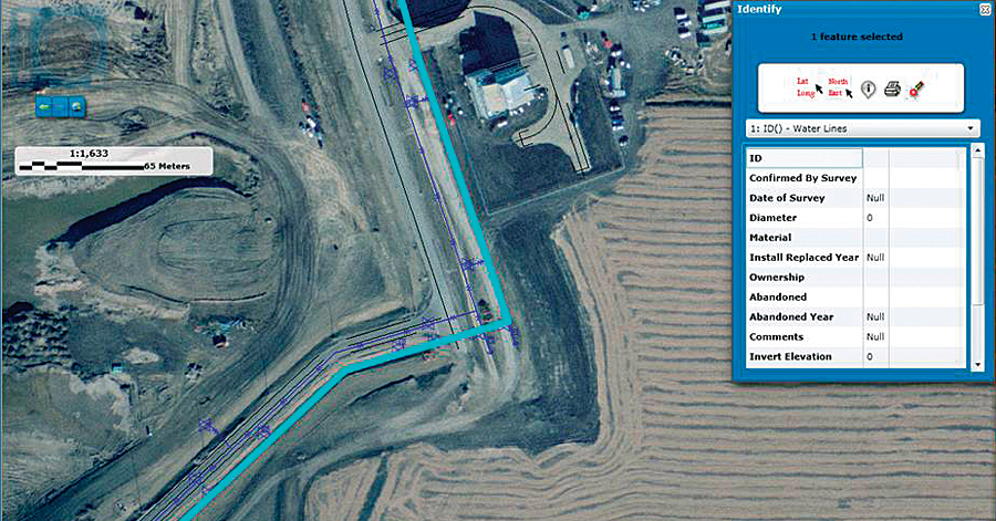 Users can view all aboveground and buried airport assets and their locations through the web application.