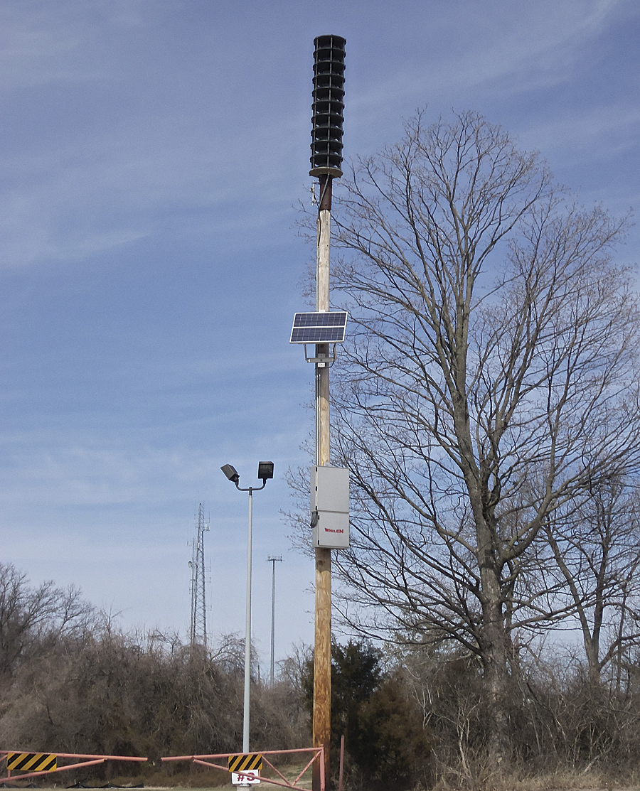 This siren is placed on a side entrance to Faust County Park from Olive Boulevard in Chesterfield, Missouri.