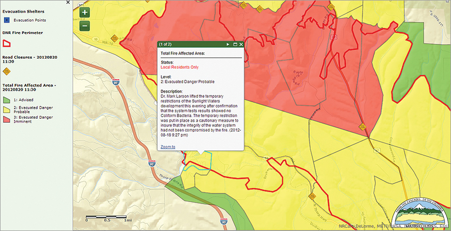The map was published to ArcGIS Online for up-to-the-minute evacuation zone, roadblock, and fire perimeter status.