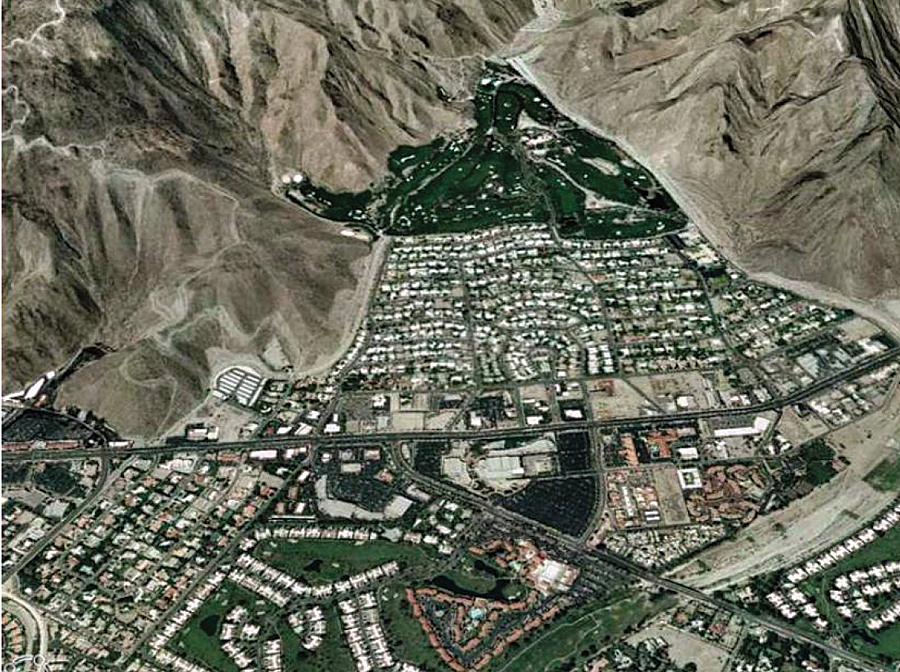 Esri's ArcGIS Explorer was used to create a 3D View of the 2005 Development on Magnesia Spring Canyon Alluvial Fan, Rancho Mirage, California. (Source: Alluvial Fan Task Force.)