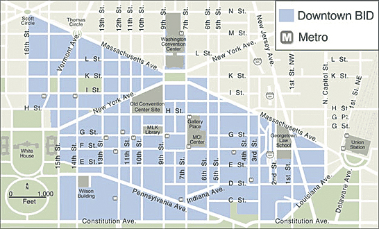 The DowntownDC BID Boundary Map, a 138-block area of approximately 520 properties from Massachusetts Avenue on the north to Constitution Avenue on the south and from Louisiana Avenue on the east to 16th Street on the west in Washington, DC.