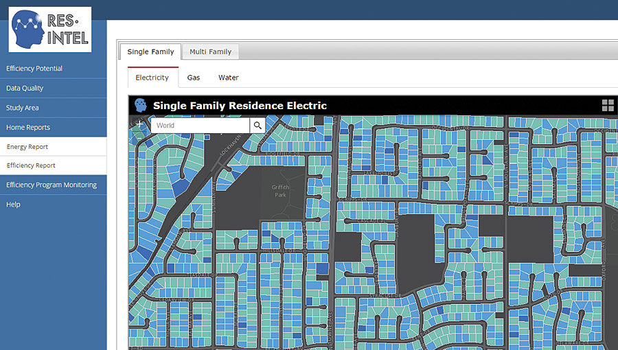 Res-Intel maps out houses' energy efficiency scores. The ones in blue need energy upgrades.
