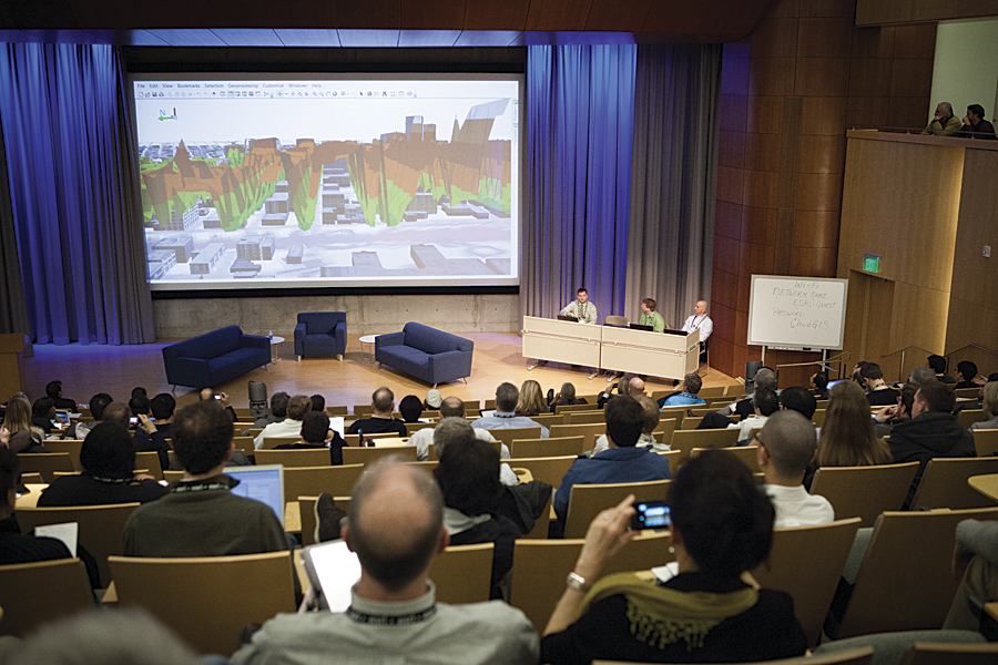 The fourth Geodesign Summit in the Esri auditorium.