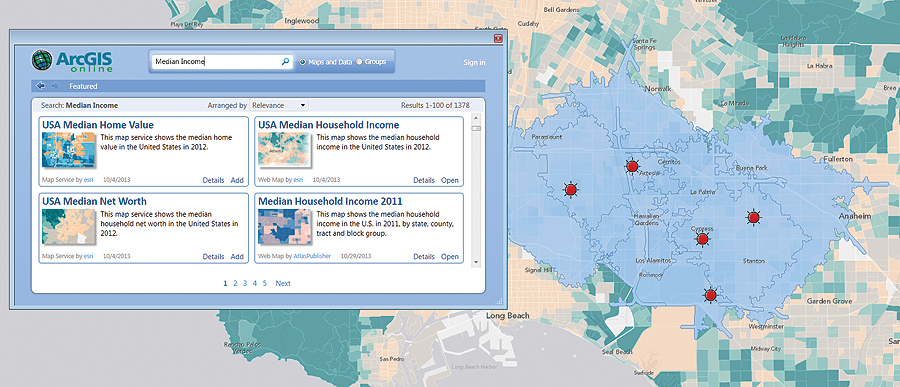 Desktop users can tap into ArcGIS Online ready-to-use map services.