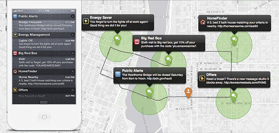 Individual Geotrigger notifications are automatically pushed to mobile users upon crossing a geofence.
