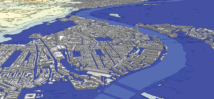 London flood mapping analysis and visualization in CityEngine.
