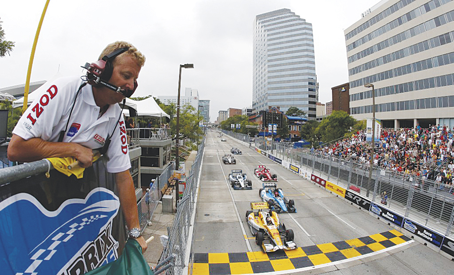 IndyCar racers on the Baltimore Grand Prix circuit.