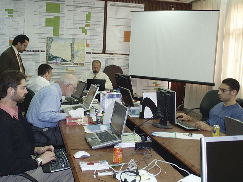 The GPC team in Libya, pictured here, completed the main SDI project for the Libyan government, but political turmoil curtailed full implementation.
