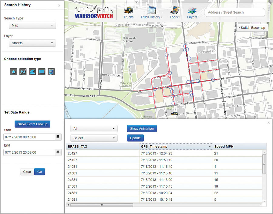 Warrior Watch searches by map to show history of plow data (location, plow up/down, salt spreader) in a specific area.