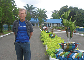 Greg Babinski brought his Esri sports t-shirt to Indonesia Air Force Base