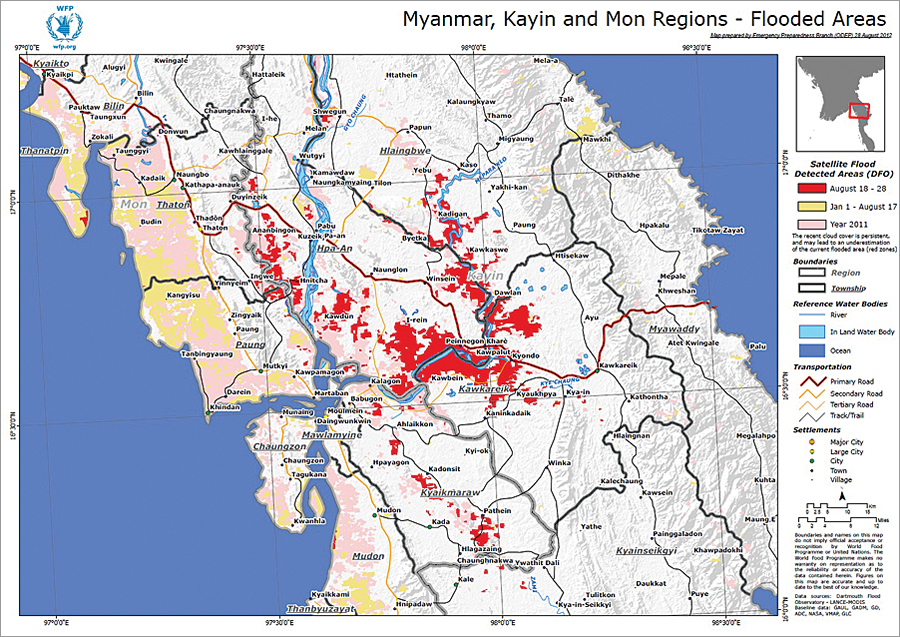 Satellite-detected flooded areas in the Kayin and Mon States of Myanmar (formerly Burma).